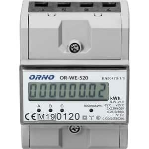 Contor trifazat ORNO OR-WE-520, 80A, 230V, IP20, alb