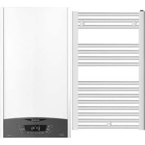 Pachet centrala termica pe gaz in condensare ARISTON Clas One, 30 kW, Kit evacuare inclus, alb + calorifer baie