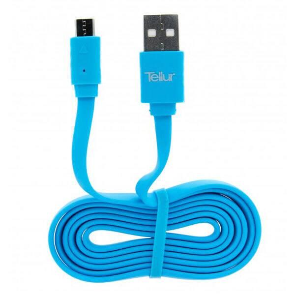 Cablu pentru incarcare / sincronizare microUSB TELLUR, 1m, albastru