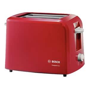 Prajitor paine BOSCH CompactClass TAT3A014, 2 felii, 980W, rosu-gri