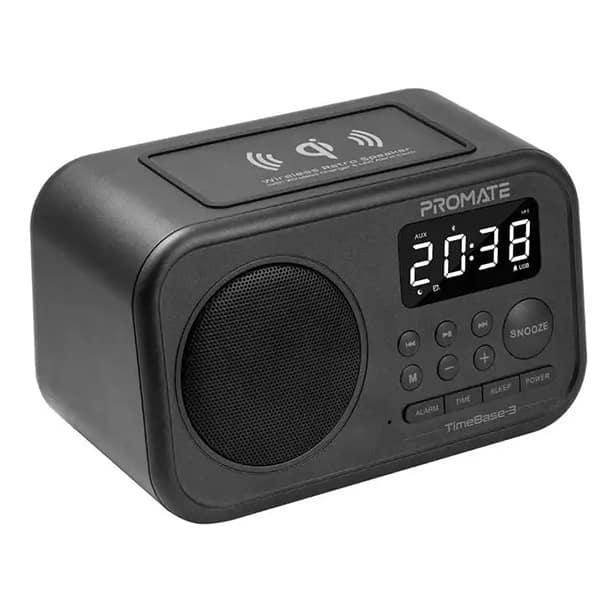Radio cu ceas PROMATE Timebase-3, Bluetooth, negru