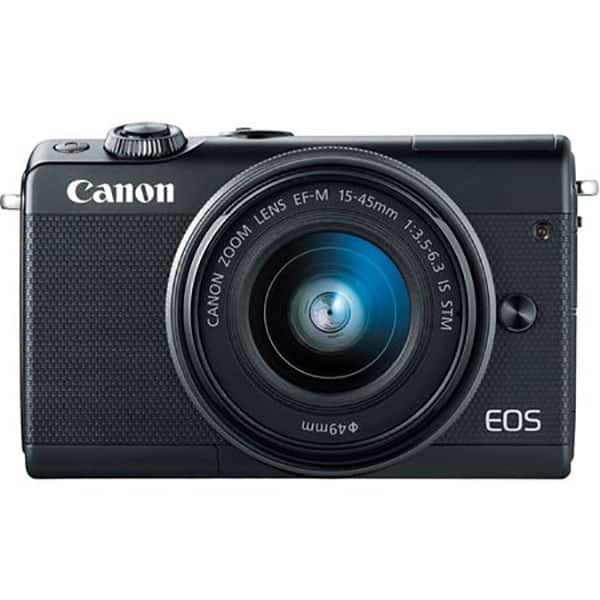 Aparat foto Mirrorless CANON EOS M100, 24.2 MP, Wi-Fi, negru + Obiectiv 15-45mm