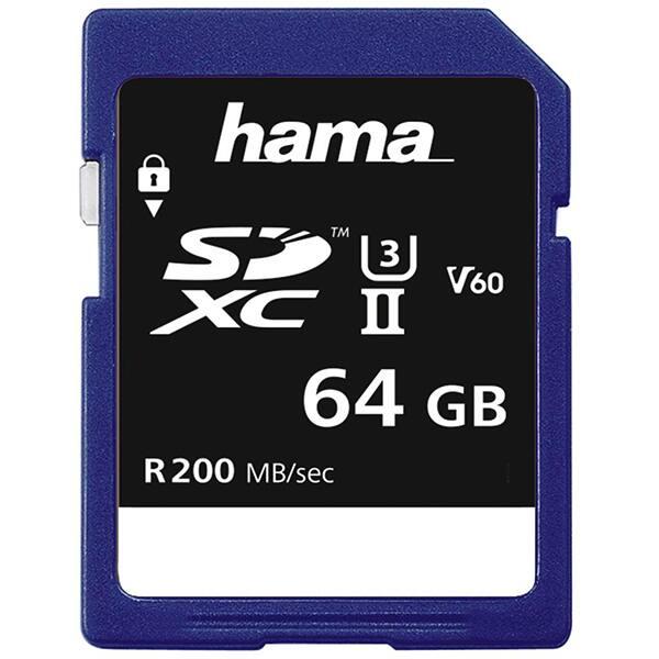 Card de memorie HAMA 124133, SDXC, 64GB, 200MB/s, Clasa 3 V60 UHS-II
