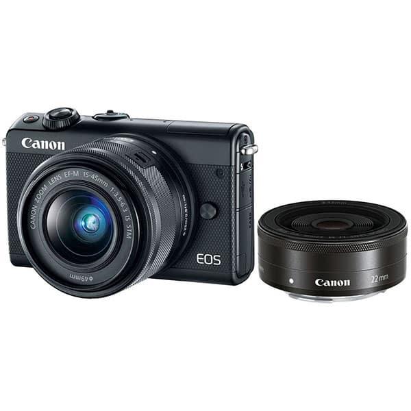 Aparat foto Mirrorless CANON EOS M100, 24.2 MP, Wi-Fi, negru + Obiectiv EF-M 15-45mm + Obiectiv EF-M 22mm