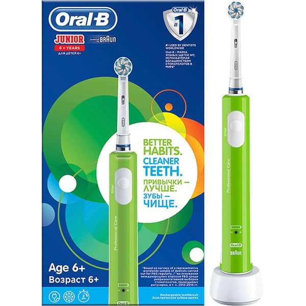 Periuta de dinti electrica ORAL-B Junior pentru copii, 20000 pulsatii/min, 8800 ocilatii/min, Curatare 3D, 1 program, 1 capat, verde