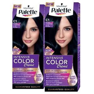 Pachet promo, Vopsea de par PALETTE Intensive Color Creme, C1-Negru Albastru, 2 x 110ml