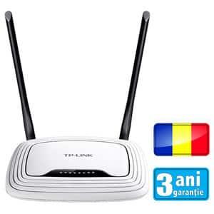 Router wireless N300 TP-LINK TL-WR841N (RO), 300Mbps, WAN, LAN, alb