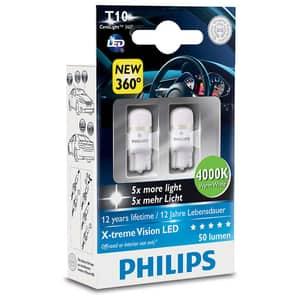 Set 2 becuri auto cu led PHILIPS W5W Xtreme Vision, 12V, 1W/4000K