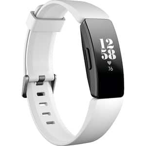 Bratara fitness FITBIT Inspire HR, Android/iOS, silicon, alb-negru